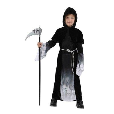 歡樂賣 萬聖節服裝/萬聖節鬼袍/死神袍/黑袍服裝/魔幻骷髏小男孩