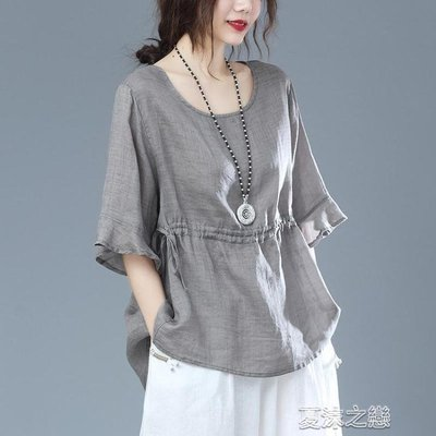 亞麻短袖 短款棉麻上衣女夏季新款抽繩寬鬆大碼天絲亞麻短袖T恤女半袖