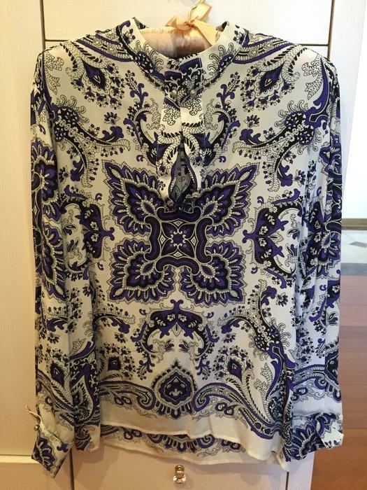 Etro 100%絲綢 長袖青花瓷襯衫 袖口領口獨特設計別緻釦~特價!