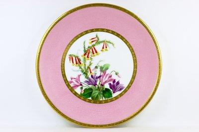 英國古董瓷器 明頓 Minton 手繪 仙克萊、歐石楠 花卉盤  made for Davis Collamore &