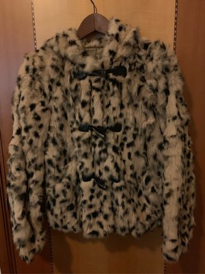 真兔毛有帽豹紋外套 Real Rabbit Fur Jacket