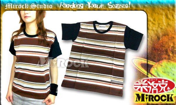 MIROCK米洛克【特賣】日本街牌Attractions復古英倫個性口袋造型棒球款純棉短袖T恤|褐色系橫條紋|男女皆可