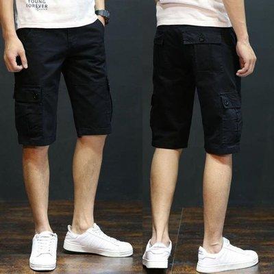 七分褲 夏季純棉工裝褲男短褲薄款寬松多口袋戶外休閑