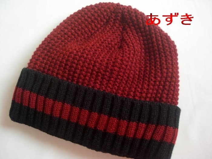 厚織x內刷毛-兩用款-反摺中長版毛帽--現貨-棗紅
