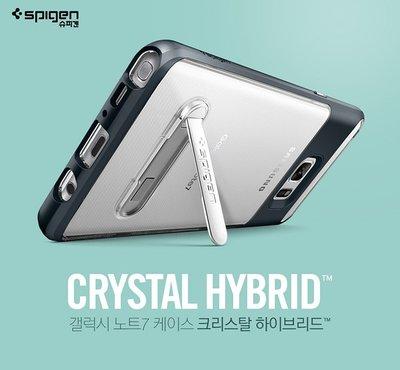 【贈9H玻璃保貼】Spigen SGP Note 7 Crystal Hybrid 邊框防撞透明背蓋立式手機殼