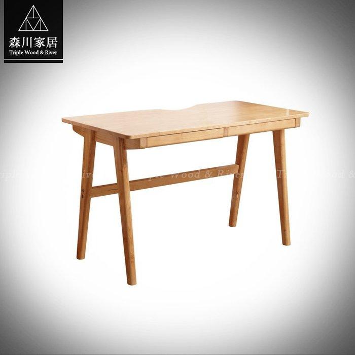 《森川家居》NST-02ST01-北歐簡約原木雙抽書桌 餐廳咖啡廳民宿/餐椅收納/美式設計LOFT/IKEA品東西