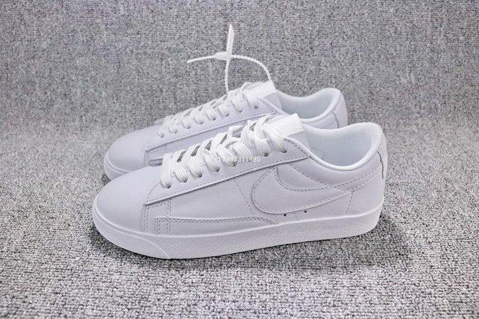 Nike Blazer Low Premium 全白 百搭 低幫 皮革 滑板鞋 男女鞋 AA3961-104
