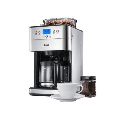 咖啡機ACA/北美電器AC-M18A咖啡機家用辦公不銹鋼全自動美式磨豆機