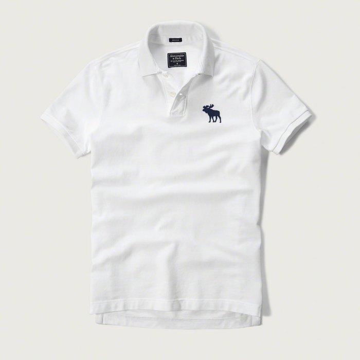 美國百分百【Abercrombie & Fitch】Polo衫 AF 短袖 上衣 大麋鹿 白色 深藍鹿 C295