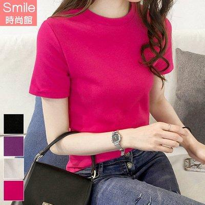 【V3085】SMILE-純色隨性.素面圓領短袖上衣