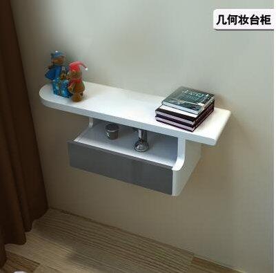 小戶型臥室壁掛妝台櫃現代迷你床頭化妝桌白色烤漆梳妝台桌掛牆櫃
