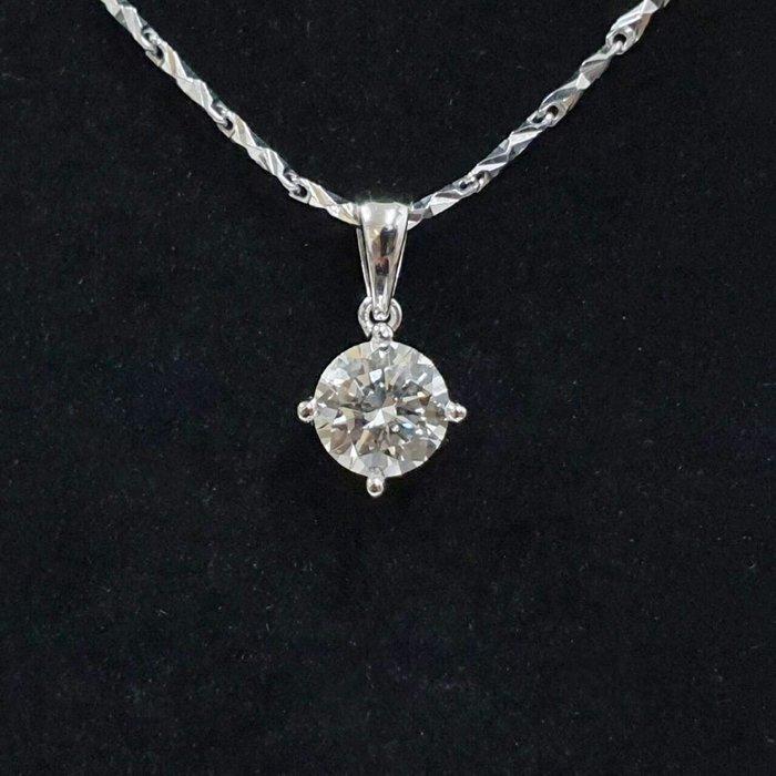 送禮禮品 GIA鑽石項鍊 主石1.01克拉 J色 完美車工 3EX 750白K金墜台 墜長1.1 大眾當舖 編號5980