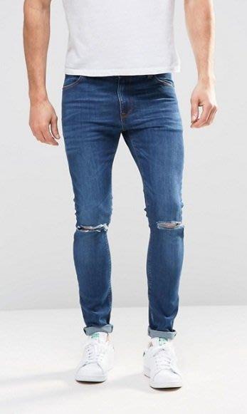 ◎美國代買◎ASOS經典藍色雙膝刷破英倫頹廢風帥氣顯廋藍色牛仔褲~歐美街風~大尺碼