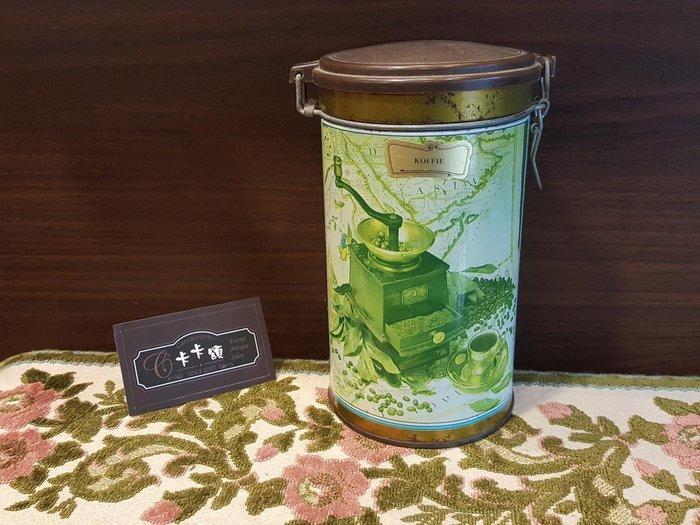 【卡卡頌 歐洲跳蚤市場/歐洲古董】歐洲老件_ 圓筒鐵盒 咖啡罐 茶罐 老鐵盒 小物收納盒 m0451 復古 收納鐵盒✬