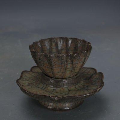 ㊣姥姥的寶藏㊣ 宋代哥窯金絲鐵線茶杯茶托套裝  出土文物古瓷器手工古玩古董收藏