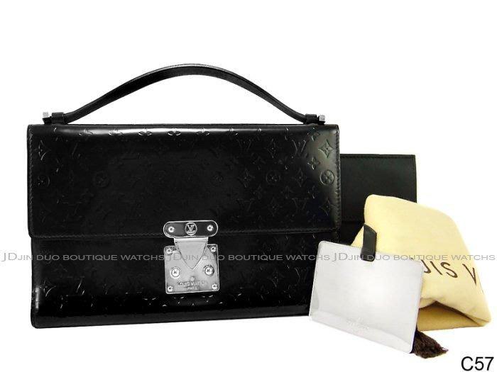 金鐸精品~C57 LOUIS VUITTON LV 路易威登 黑色漆皮 手提包 腋下包 晚宴包