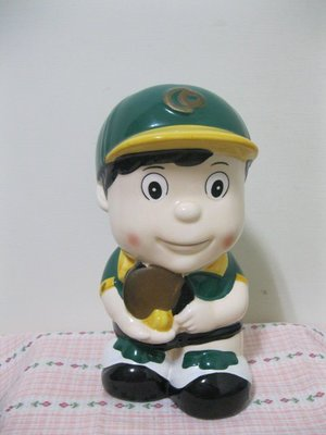 合庫陶瓷公仔存錢筒 合作金庫合庫銀行棒球陶瓷公仔擺飾早期中華職棒公仔棒球公仔 金豬年大降價