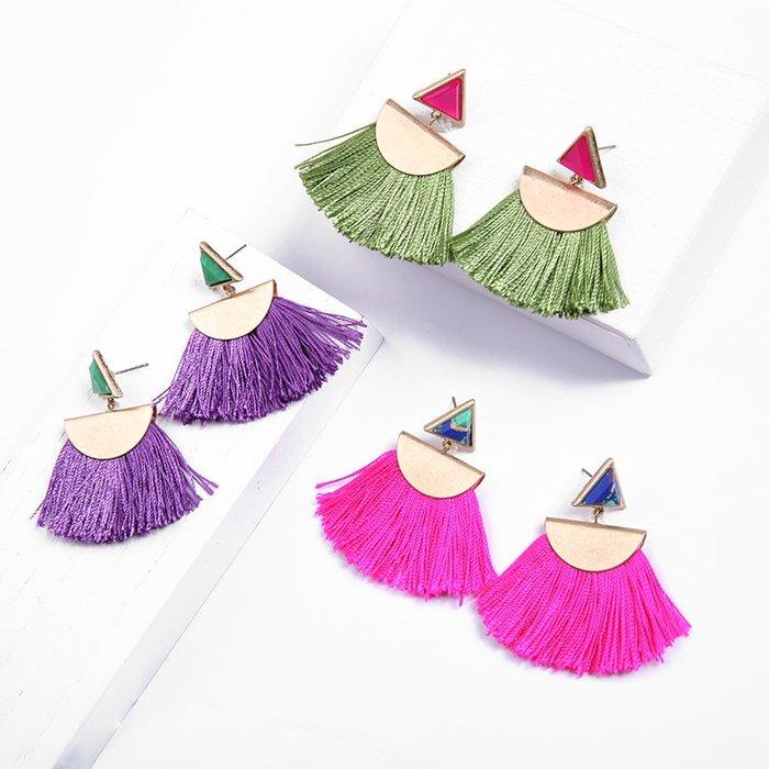 FEI日韓代購~耳釘女歐美民族風格個性幾何造型百搭簡約森系顯臉瘦的耳環超仙