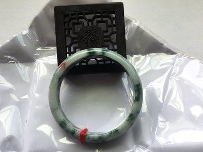 『華翡翠』翡翠手鐲,平安鐲,內徑55.8/12.4/6.6mm,花青加撒金手鐲,特色手鐲