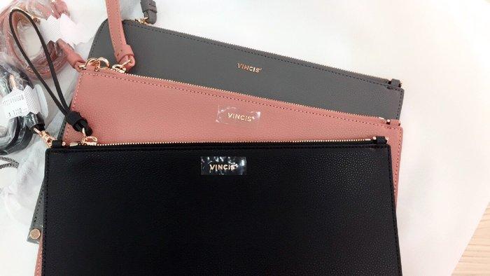 【安妮塔塔韓貨瘋】 韓國品牌 VINCIS' 真皮小方包 平板包 玫瑰金五金