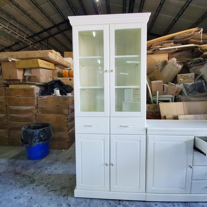 美生活館 美式鄉村古典家具訂製 客製化 全紐松 象牙白色 雙抽四門收納櫃 ( 寬90 )  書櫃 展示櫃 餐具櫃