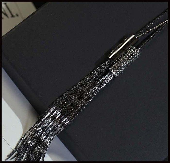 哆啦本鋪 時尚秋冬鑲鑽長款流蘇毛衣鏈時尚百搭毛衣配飾品掛件長鏈D655