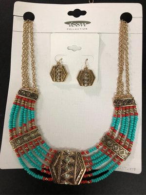 Jewellery set ethnic necklace beaded earrings 首飾套裝 頸鍊及耳環 民族風 jewelry