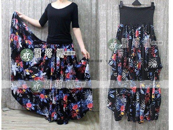 @~薩瓦拉: 加大限量款_2穿反摺_黑/深藍_鮮豔扶桑花束_內綁繩。洋裝/圓裙