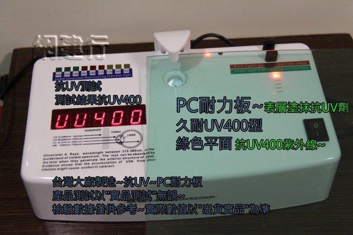 【UV400抗紫外線~保用5年以上】 PC耐力板 青綠平面 2mm 每才49元 防風 遮陽 PC板 ~新莊可自取