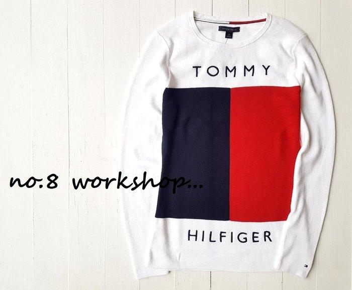 T☆【女生館】☆【TOMMY HILFIGER LOGO拼接針織衫】☆【TOMG002W4】(S-M)原價2299