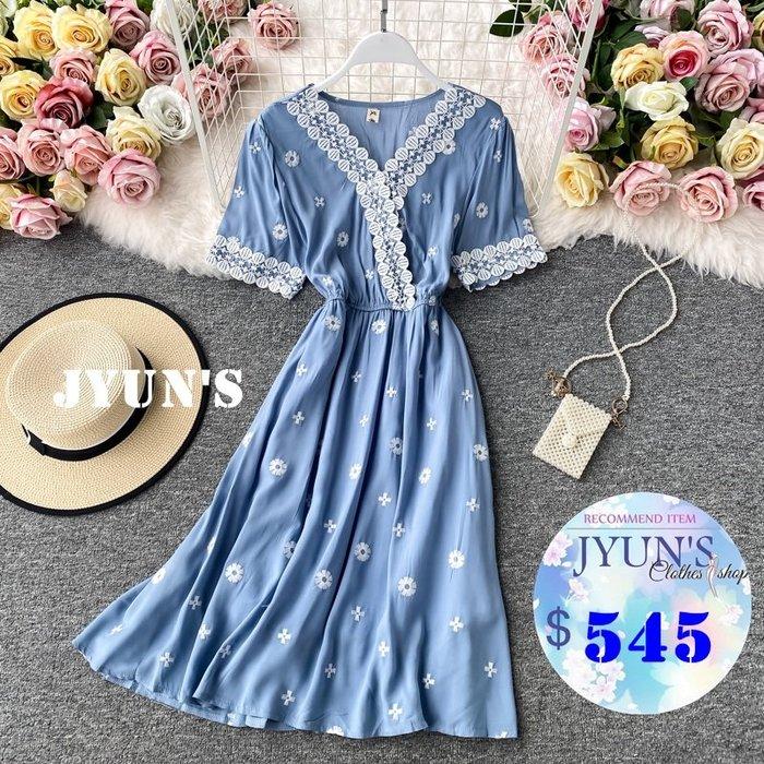 JYUN'S 夏季新款法式氣質復古V領蕾絲刺繡收腰顯瘦短袖洋裝連衣裙連身裙 5色 預購