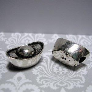 琥珀貓~【925純銀材料配件】造型珠~N9848~元寶~一個