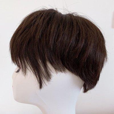 整頂假髮真髮絲短假髮-手織自然逼真直髮女假髮2色73vr34[獨家進口][米蘭精品]