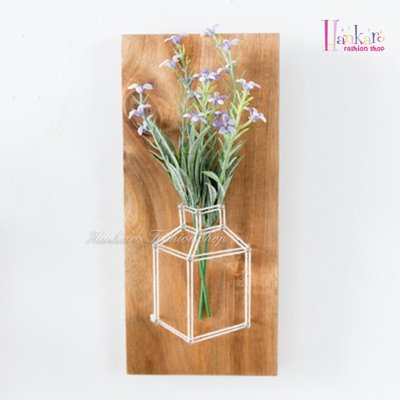☆[Hankaro]☆ 創意清新田園風格木質繞線仿真花藝掛飾(紫花)