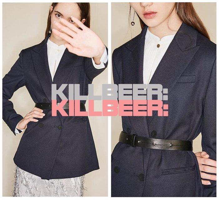 KillBeer:經典就是不會被換之 歐美復古英倫簡約設計感搖滾皮革扣環腰封藏青翻領西裝外套010420