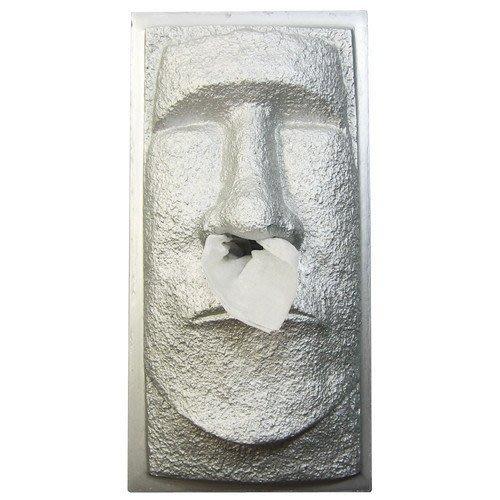 (I LOVE樂多)日本進口 MOAI復活節島摩艾 全銀版本造型面紙盒/衛生紙盒 情境擺飾 送人自用兩相宜