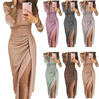 【CP值超高】亮晶晶連身裙晚宴一字eBay女士包臀開衩歐美亞馬遜禮服裙性感