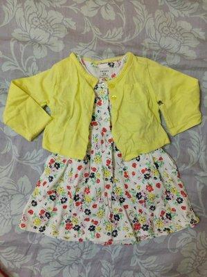 *宣軒賣場* 3件組 Carter's 12M 短袖碎花包屁式洋裝+黃長袖外套+mothercare 藍碎花帽 百貨專櫃 女童 小童 台中市