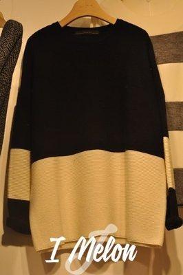 ::: i-MelOn :::100%韓國空運 正韓【現貨特惠】編織長版配色針織衣毛衣※黑色