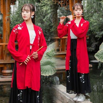 漢服 中國風 民族風 連身裙 長裙原創傳統漢服女日常中國風刺繡花連衣裙學生表演服裝套裝非古裝