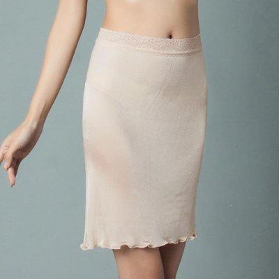 ZIHOPE 襯裙 新款真絲半身襯裙 天然桑蠶絲半身打底群蕾絲花邊純色寬鬆腰睡裙ZI812