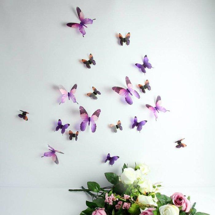 ☆║♥愷心小舖♥║☆歐美進口~創意立體 3D 浪漫 蝴蝶  化妝室 臥房  婚佈背景  華麗~超值18隻一套!紫色款~