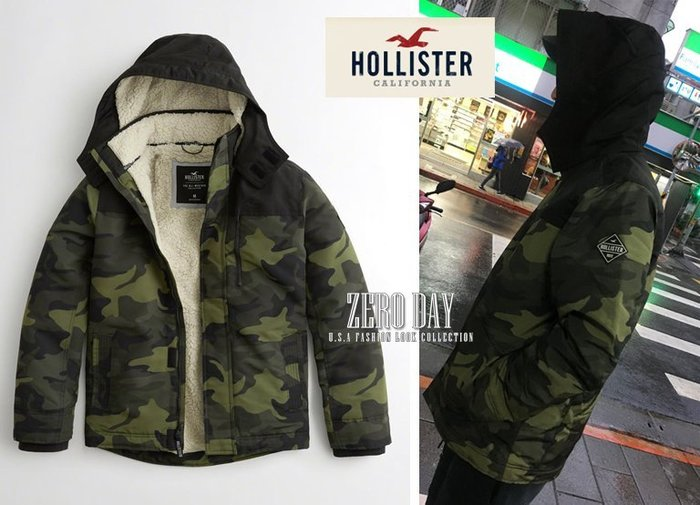 A&F副牌Hollister真品All-Weather Sherpa-Lined Jacket熊寶寶毛連帽風衣外套-迷彩