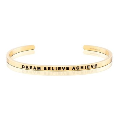 MANTRABAND 台北ShopSmart直營店 美國悄悄話手環 Dream Believe Achieve 金色