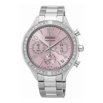 可議價.「1958 鐘錶城」SEIKO精工錶 CS 時尚晶鑽計時腕錶/粉/SSB897P1-38mm