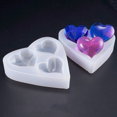 【光圈飾物所】立體愛心 矽膠模具組(水晶膠 UV膠 Epoxy 環氧樹脂)
