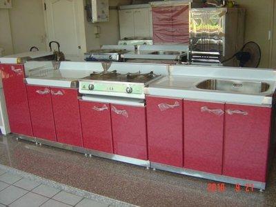 (33)三件式244cm廚具,不鏽鋼流理台,不鏽鋼廚具,系統廚具(桶身,檯面,提籠正#304不鏽鋼)可自取