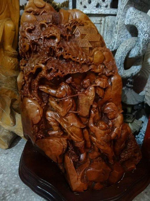 【御寶閣Viboger】古董 文物 藝品 字畫 化石~老壽山石 中大型壽山石雕 雙面雕 老壽山 石雕