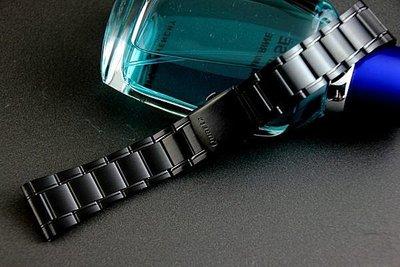 24mm黑色真空離子電鍍sea master 海馬風格不鏽鋼製錶帶,非烤漆
