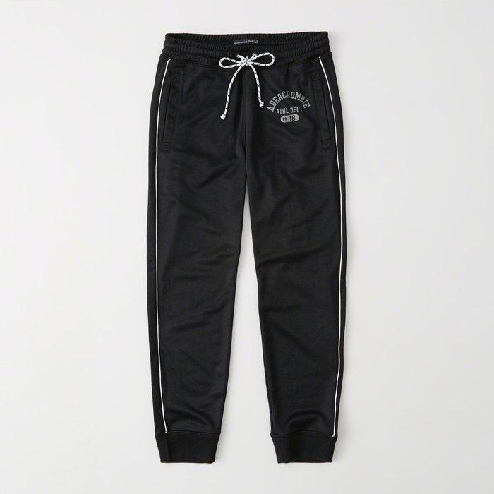 【Abercrombie&Fitch】【A&F】AF女款長褲運動款束口左印字雙白條黑 F07181220-13